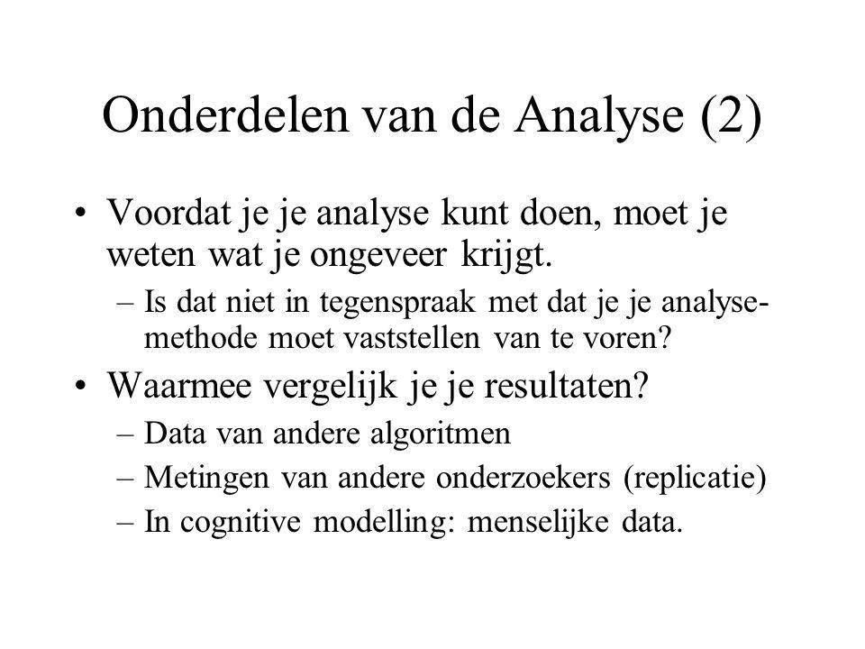 Onderdelen van de Analyse (2) Voordat je je analyse kunt doen, moet je weten wat je ongeveer krijgt. –Is dat niet in tegenspraak met dat je je analyse