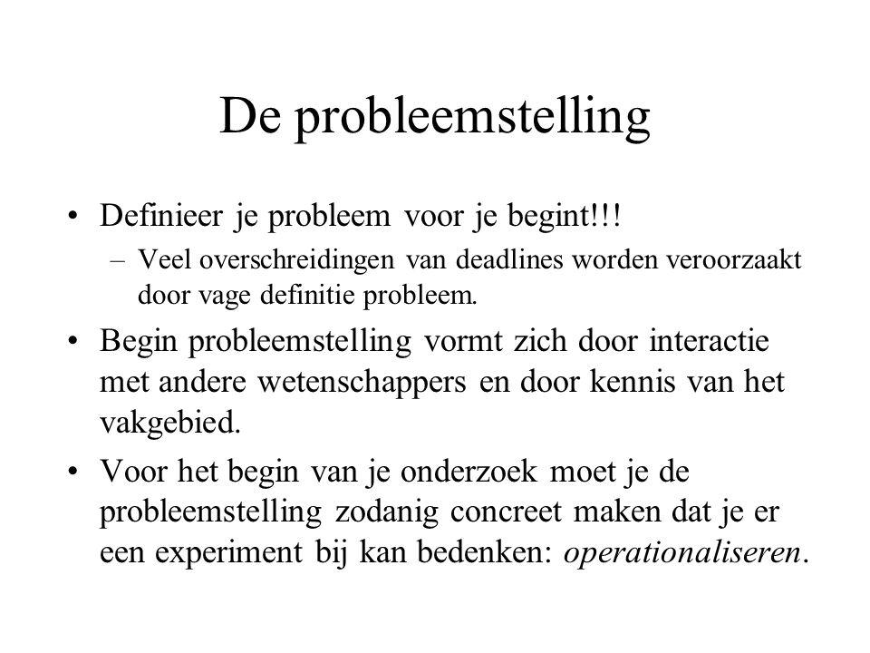De probleemstelling Definieer je probleem voor je begint!!.