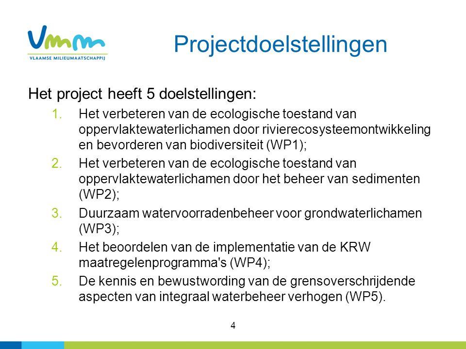 4 Projectdoelstellingen Het project heeft 5 doelstellingen: 1.Het verbeteren van de ecologische toestand van oppervlaktewaterlichamen door rivierecosysteemontwikkeling en bevorderen van biodiversiteit (WP1); 2.Het verbeteren van de ecologische toestand van oppervlaktewaterlichamen door het beheer van sedimenten (WP2); 3.Duurzaam watervoorradenbeheer voor grondwaterlichamen (WP3); 4.Het beoordelen van de implementatie van de KRW maatregelenprogramma s (WP4); 5.De kennis en bewustwording van de grensoverschrijdende aspecten van integraal waterbeheer verhogen (WP5).