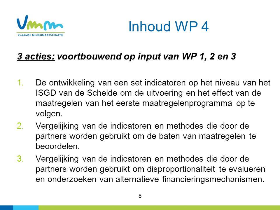 8 Inhoud WP 4 3 acties: voortbouwend op input van WP 1, 2 en 3 1.De ontwikkeling van een set indicatoren op het niveau van het ISGD van de Schelde om de uitvoering en het effect van de maatregelen van het eerste maatregelenprogramma op te volgen.