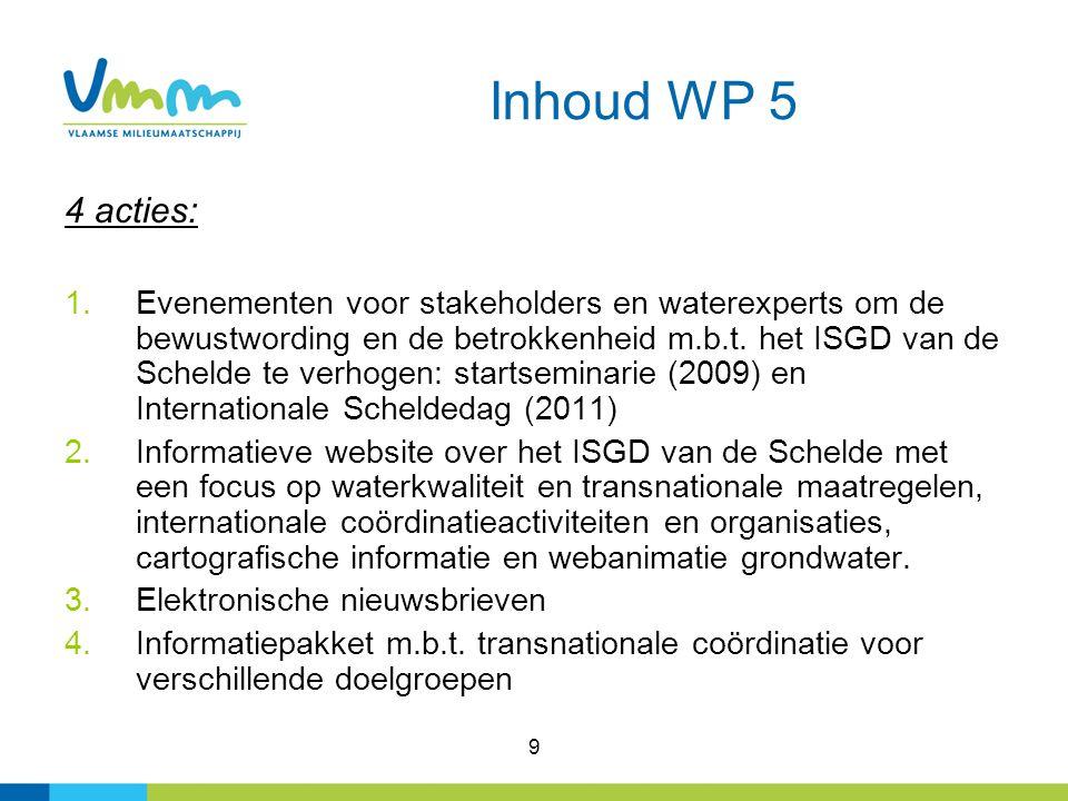 9 Inhoud WP 5 4 acties: 1.Evenementen voor stakeholders en waterexperts om de bewustwording en de betrokkenheid m.b.t.