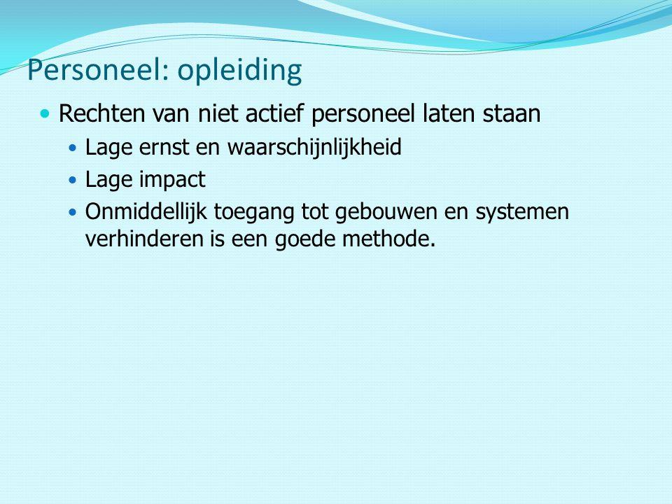 Rechten van niet actief personeel laten staan Lage ernst en waarschijnlijkheid Lage impact Onmiddellijk toegang tot gebouwen en systemen verhinderen is een goede methode.