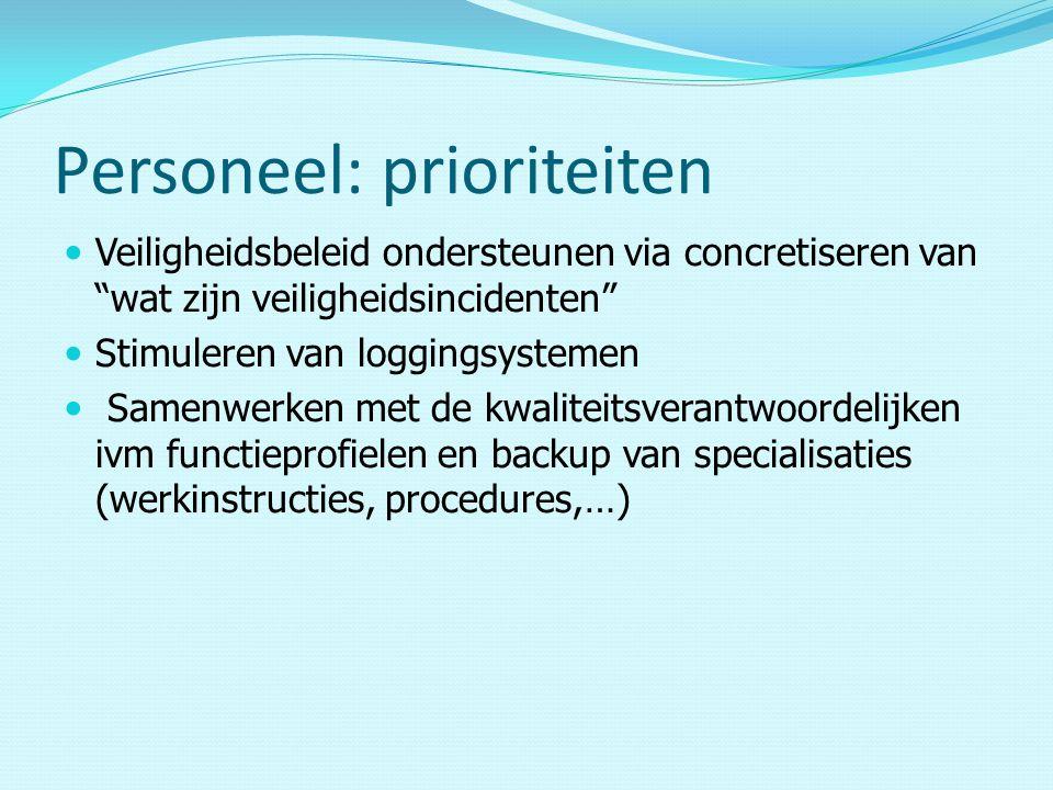 Personeel: prioriteiten Veiligheidsbeleid ondersteunen via concretiseren van wat zijn veiligheidsincidenten Stimuleren van loggingsystemen Samenwerken met de kwaliteitsverantwoordelijken ivm functieprofielen en backup van specialisaties (werkinstructies, procedures,…)