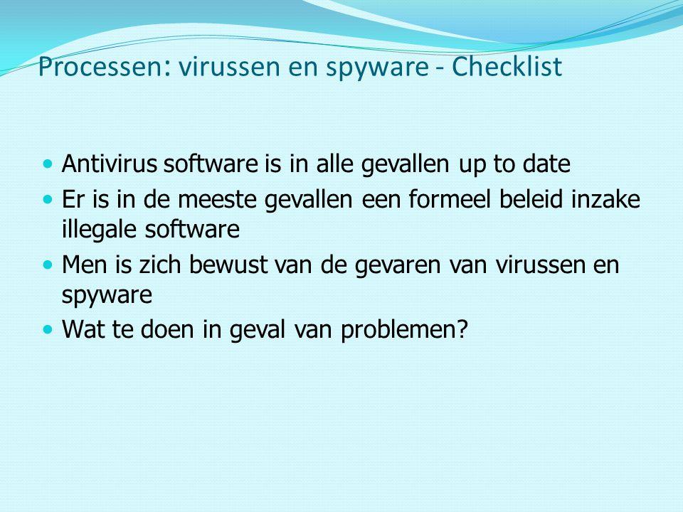 Antivirus software is in alle gevallen up to date Er is in de meeste gevallen een formeel beleid inzake illegale software Men is zich bewust van de gevaren van virussen en spyware Wat te doen in geval van problemen.
