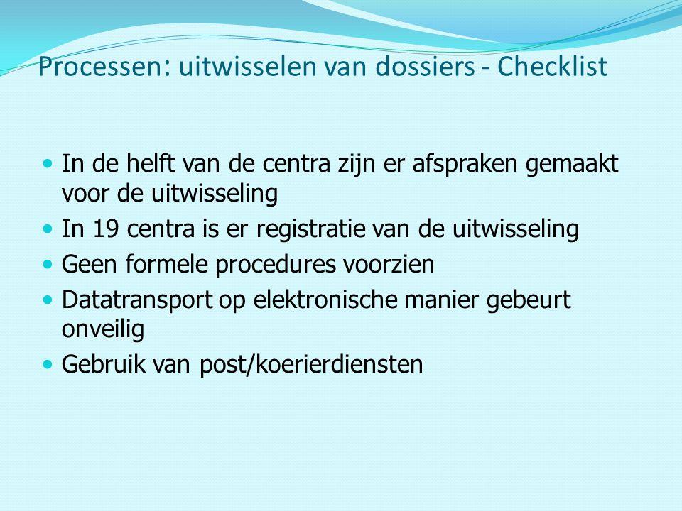 In de helft van de centra zijn er afspraken gemaakt voor de uitwisseling In 19 centra is er registratie van de uitwisseling Geen formele procedures voorzien Datatransport op elektronische manier gebeurt onveilig Gebruik van post/koerierdiensten Processen : uitwisselen van dossiers - Checklist