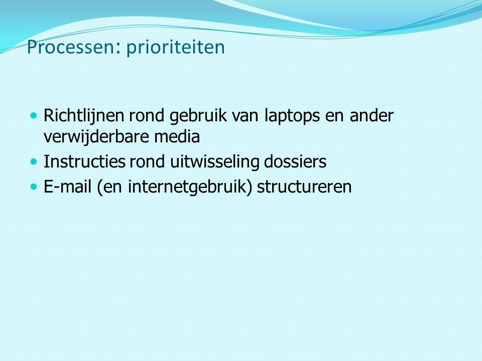 Richtlijnen rond gebruik van laptops en ander verwijderbare media Instructies rond uitwisseling dossiers E-mail (en internetgebruik) structureren Processen : prioriteiten