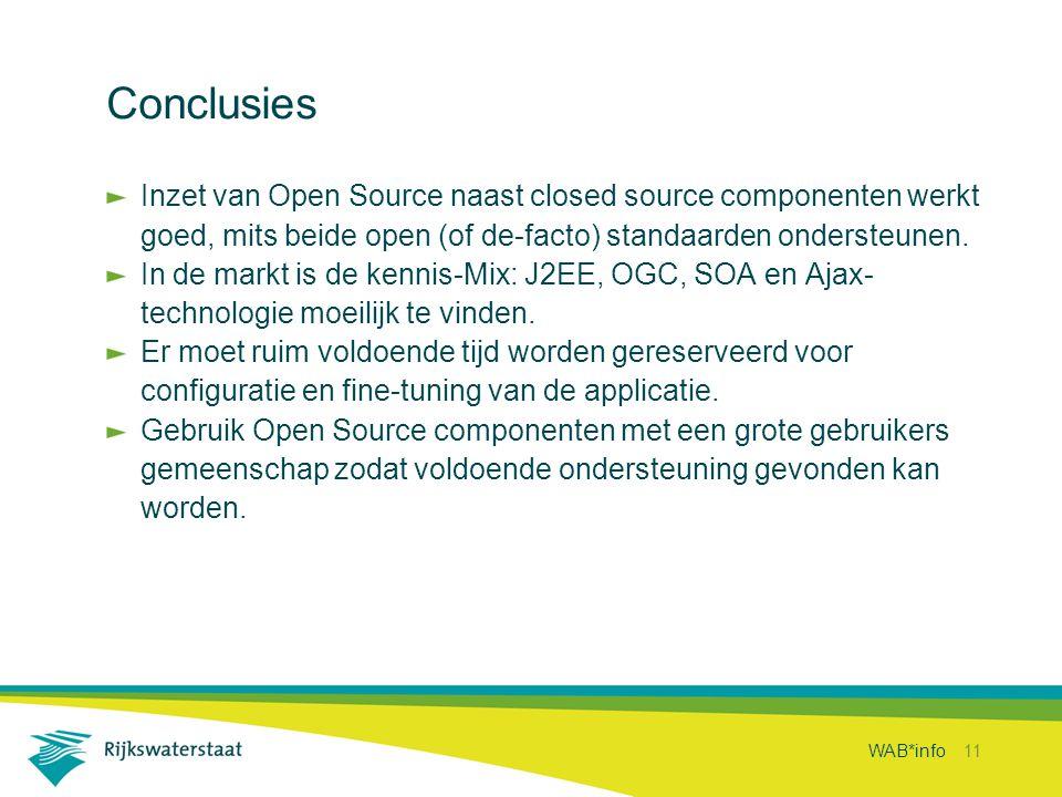 WAB*info 11 Conclusies Inzet van Open Source naast closed source componenten werkt goed, mits beide open (of de-facto) standaarden ondersteunen. In de
