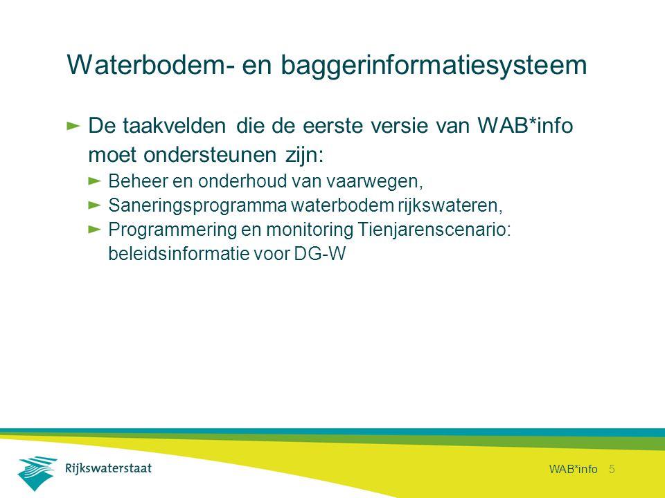 WAB*info 5 Waterbodem- en baggerinformatiesysteem De taakvelden die de eerste versie van WAB*info moet ondersteunen zijn: Beheer en onderhoud van vaar