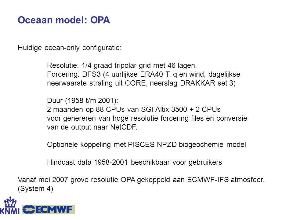 Oceaan model: OPA Huidige ocean-only configuratie: Resolutie: 1/4 graad tripolar grid met 46 lagen. Forcering: DFS3 (4 uurlijkse ERA40 T, q en wind, d
