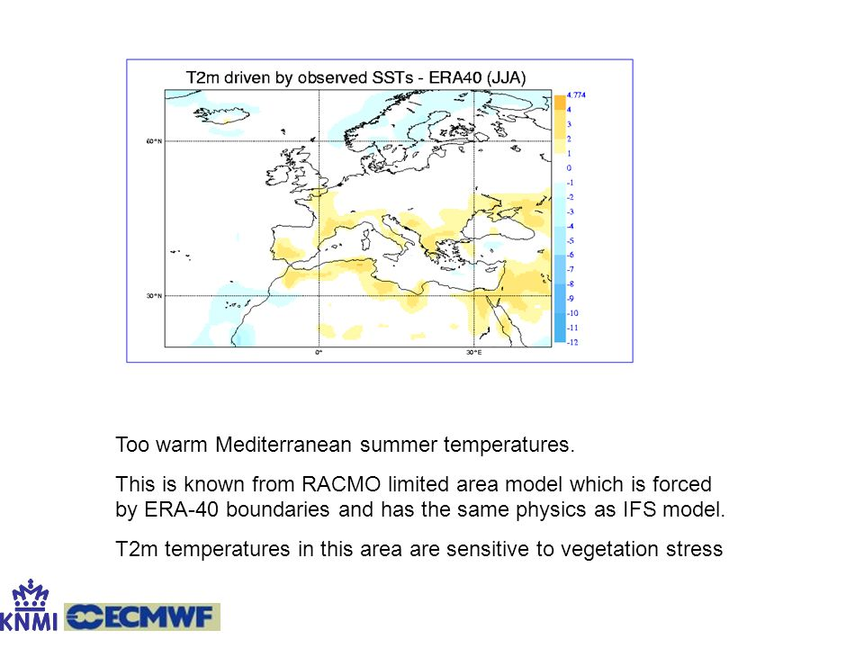 Too warm Mediterranean summer temperatures. This is known from RACMO limited area model which is forced by ERA-40 boundaries and has the same physics