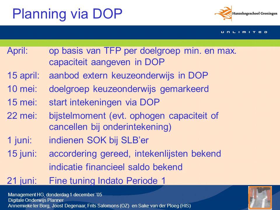 Management HG, donderdag 1 december '05 Digitale Onderwijs Planner Annemieke ter Borg, Joost Degenaar, Frits Salomons (OZ) en Sake van der Ploeg (HIS) Planning via DOP April:op basis van TFP per doelgroep min.