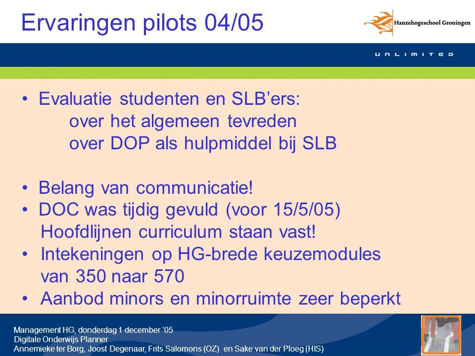 Management HG, donderdag 1 december '05 Digitale Onderwijs Planner Annemieke ter Borg, Joost Degenaar, Frits Salomons (OZ) en Sake van der Ploeg (HIS) Vragen deel 1: Waarom en ervaringen
