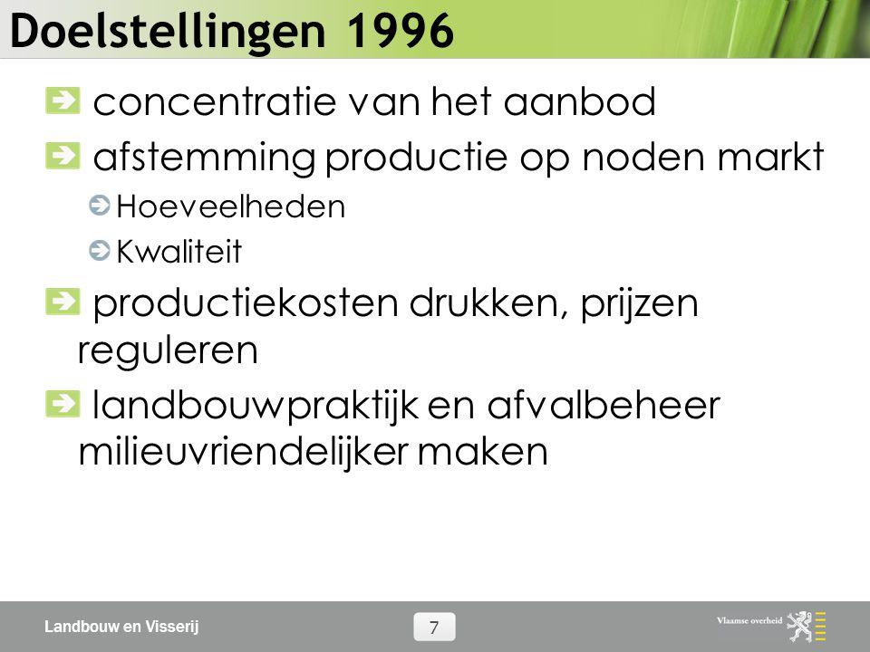 Landbouw en Visserij 7 Doelstellingen 1996 concentratie van het aanbod afstemming productie op noden markt Hoeveelheden Kwaliteit productiekosten drukken, prijzen reguleren landbouwpraktijk en afvalbeheer milieuvriendelijker maken