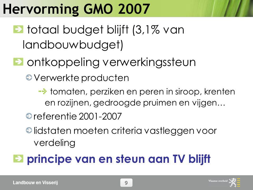 Landbouw en Visserij 9 Hervorming GMO 2007 totaal budget blijft (3,1% van landbouwbudget) ontkoppeling verwerkingssteun Verwerkte producten tomaten, perziken en peren in siroop, krenten en rozijnen, gedroogde pruimen en vijgen… referentie 2001-2007 lidstaten moeten criteria vastleggen voor verdeling principe van en steun aan TV blijft