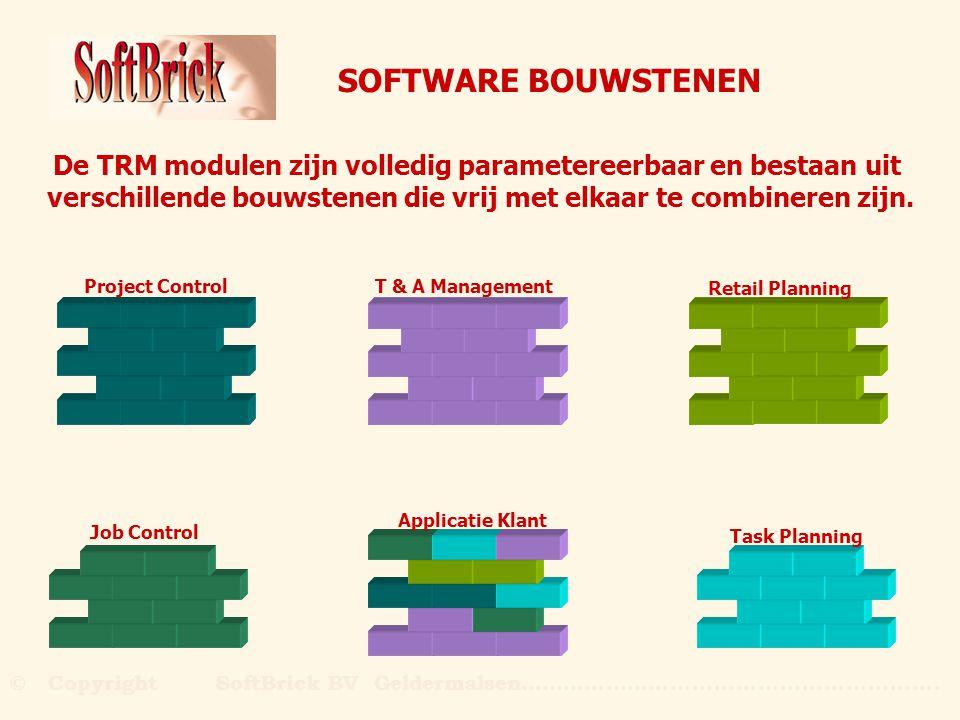 SOFTWARE BOUWSTENEN De TRM modulen zijn volledig parametereerbaar en bestaan uit verschillende bouwstenen die vrij met elkaar te combineren zijn. Job