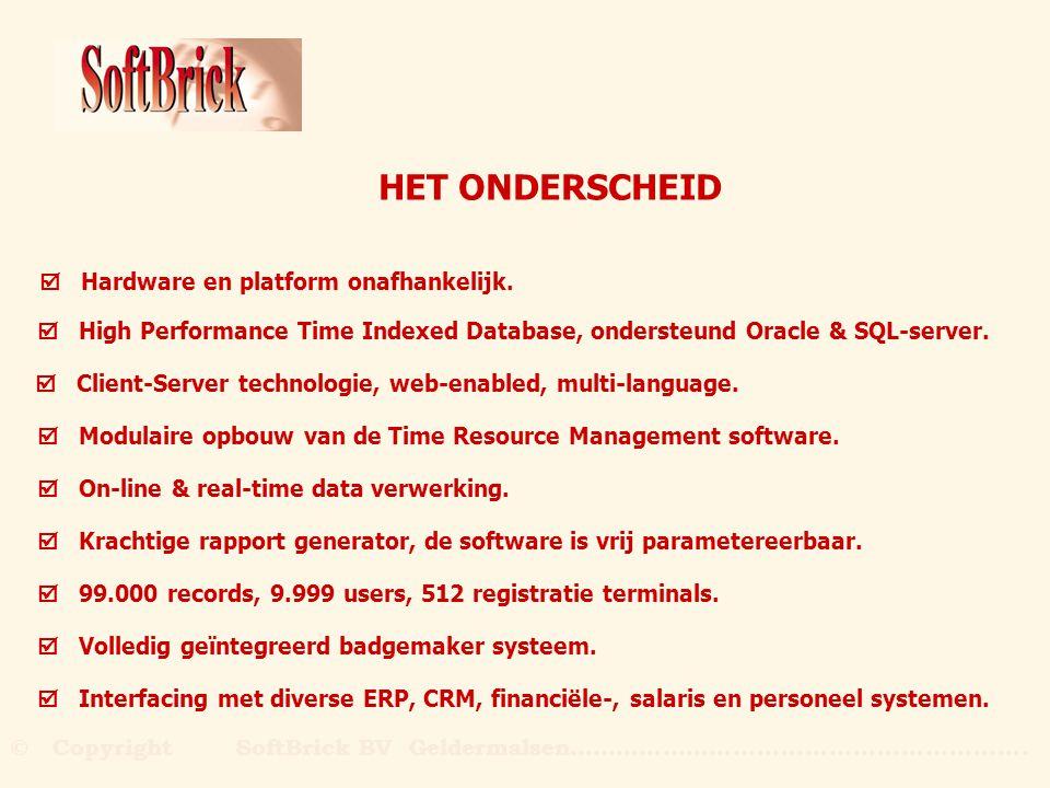 Time Indexed IndexedDatabase LAN/WAN Intranet Internet oracleSQL-server CRM Personeel ERP Salaris Finance TECHNIEK Server met SoftBrick Applicatie PC's voorzien van Internet Browser PC's voorzien van SoftBrick Client --OrgaTime--14:07 Maak uw keuze --OrgaTime--14:07 Maak uw keuze --OrgaTime--14:07 Maak uw keuze Import / export Registratie terminals Client / Server © Copyright SoftBrick BV Geldermalsen………………….....................................