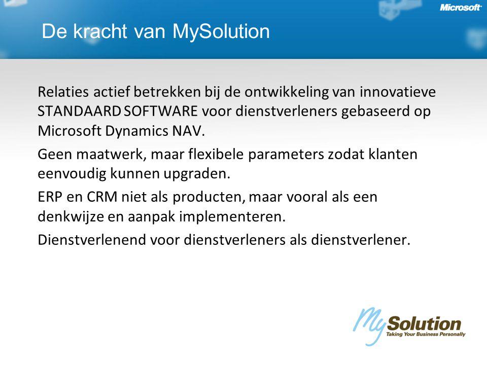 De kracht van MySolution Relaties actief betrekken bij de ontwikkeling van innovatieve STANDAARD SOFTWARE voor dienstverleners gebaseerd op Microsoft Dynamics NAV.
