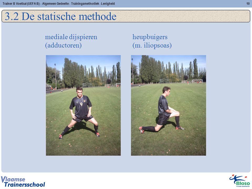 heupbuigers (m. iliopsoas) 10Trainer B Voetbal (UEFA B) - Algemeen Gedeelte - Trainingsmethodiek - Lenigheid 3.2 De statische methode mediale dijspier