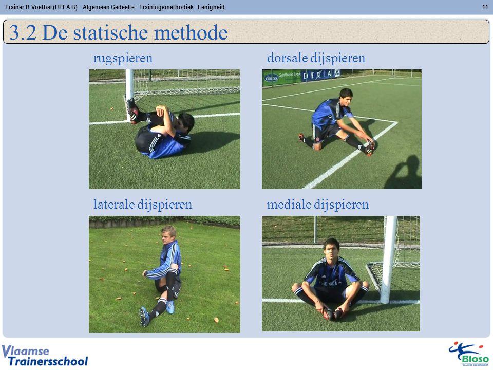11Trainer B Voetbal (UEFA B) - Algemeen Gedeelte - Trainingsmethodiek - Lenigheid 3.2 De statische methode rugspieren laterale dijspierenmediale dijsp