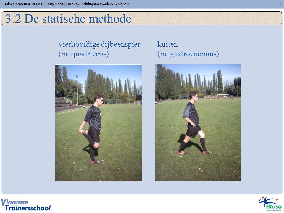 vierhoofdige dijbeenspier (m. quadriceps) kuiten (m. gastrocnemius) 9Trainer B Voetbal (UEFA B) - Algemeen Gedeelte - Trainingsmethodiek - Lenigheid 3