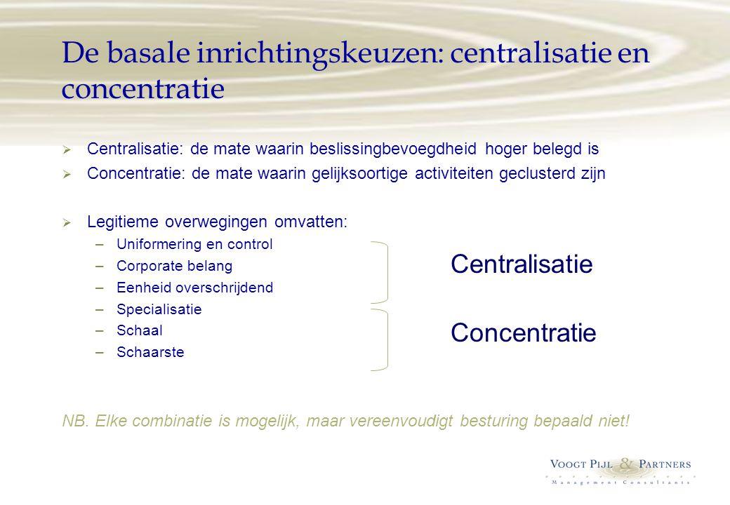 De basale inrichtingskeuzen: centralisatie en concentratie  Centralisatie: de mate waarin beslissingbevoegdheid hoger belegd is  Concentratie: de ma
