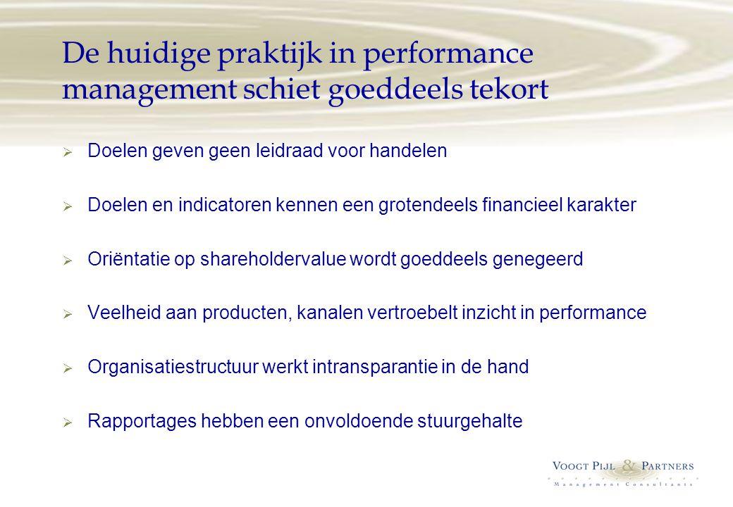 De huidige praktijk in performance management schiet goeddeels tekort  Doelen geven geen leidraad voor handelen  Doelen en indicatoren kennen een gr