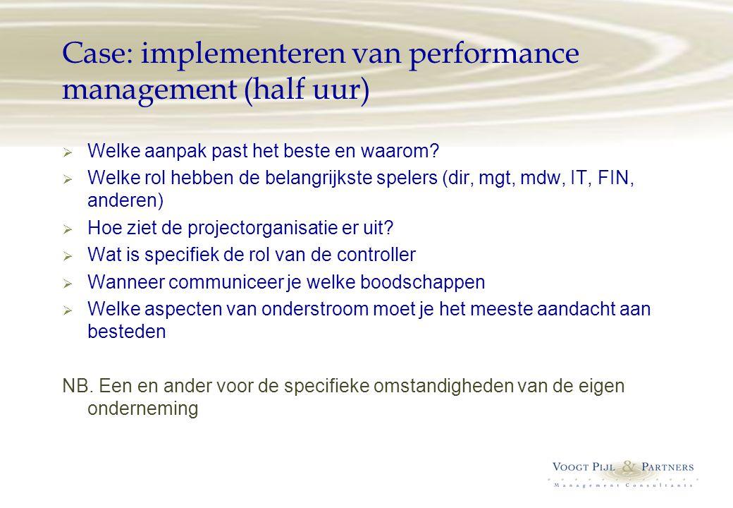 Case: implementeren van performance management (half uur)  Welke aanpak past het beste en waarom?  Welke rol hebben de belangrijkste spelers (dir, m