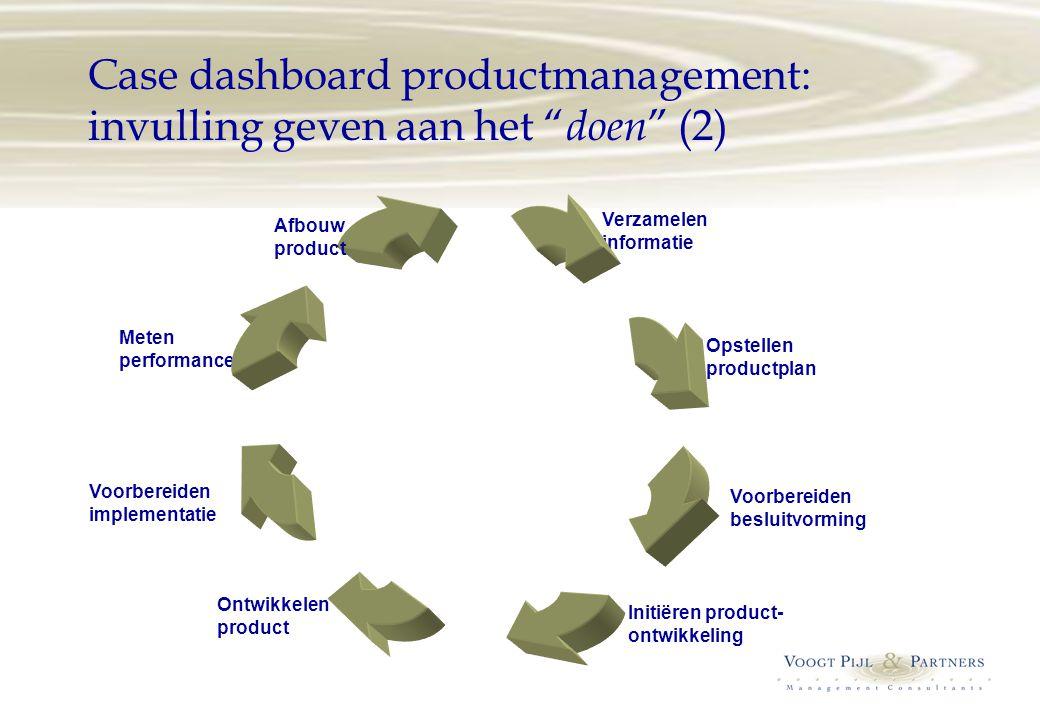 """Case dashboard productmanagement: invulling geven aan het """" doen """" (2) Verzamelen informatie Opstellen productplan Voorbereiden besluitvorming Initiër"""