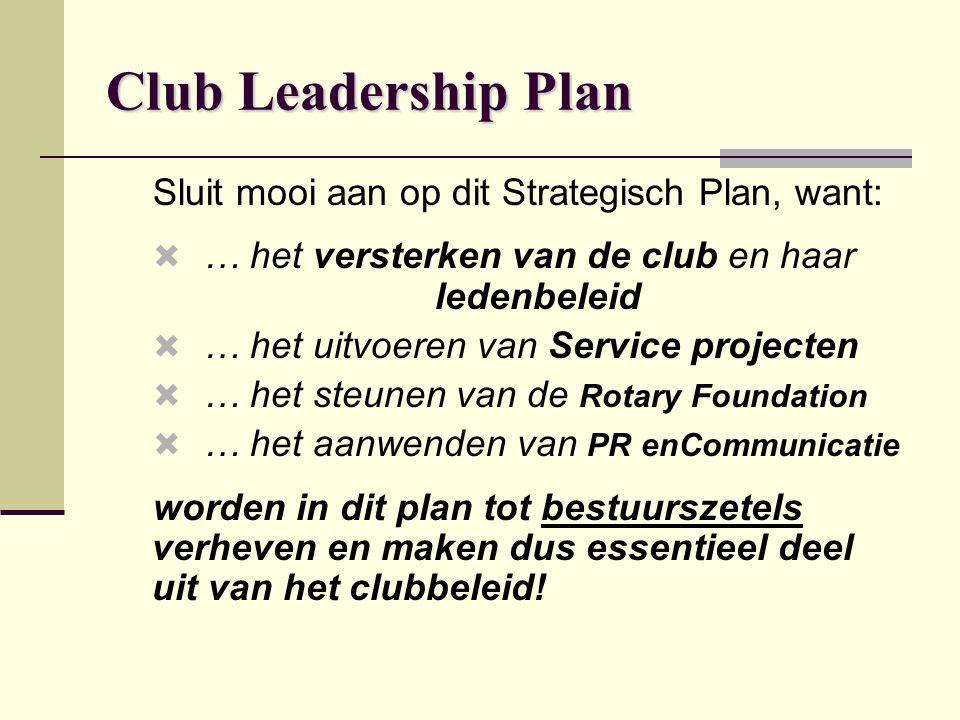 Club Leadership Plan Sluit mooi aan op dit Strategisch Plan, want:  … het versterken van de club en haar ledenbeleid  … het uitvoeren van Service pr