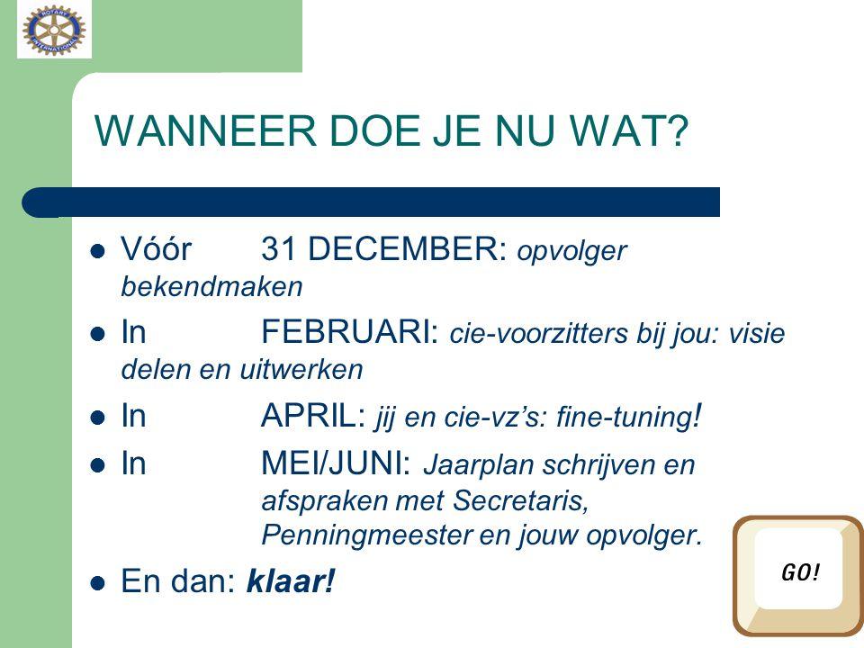 WANNEER DOE JE NU WAT? Vóór 31 DECEMBER: opvolger bekendmaken In FEBRUARI: cie-voorzitters bij jou: visie delen en uitwerken In APRIL: jij en cie-vz's
