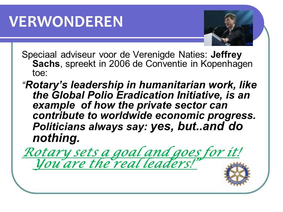"""VERWONDEREN Speciaal adviseur voor de Verenigde Naties: Jeffrey Sachs, spreekt in 2006 de Conventie in Kopenhagen toe: """" Rotary's leadership in humani"""