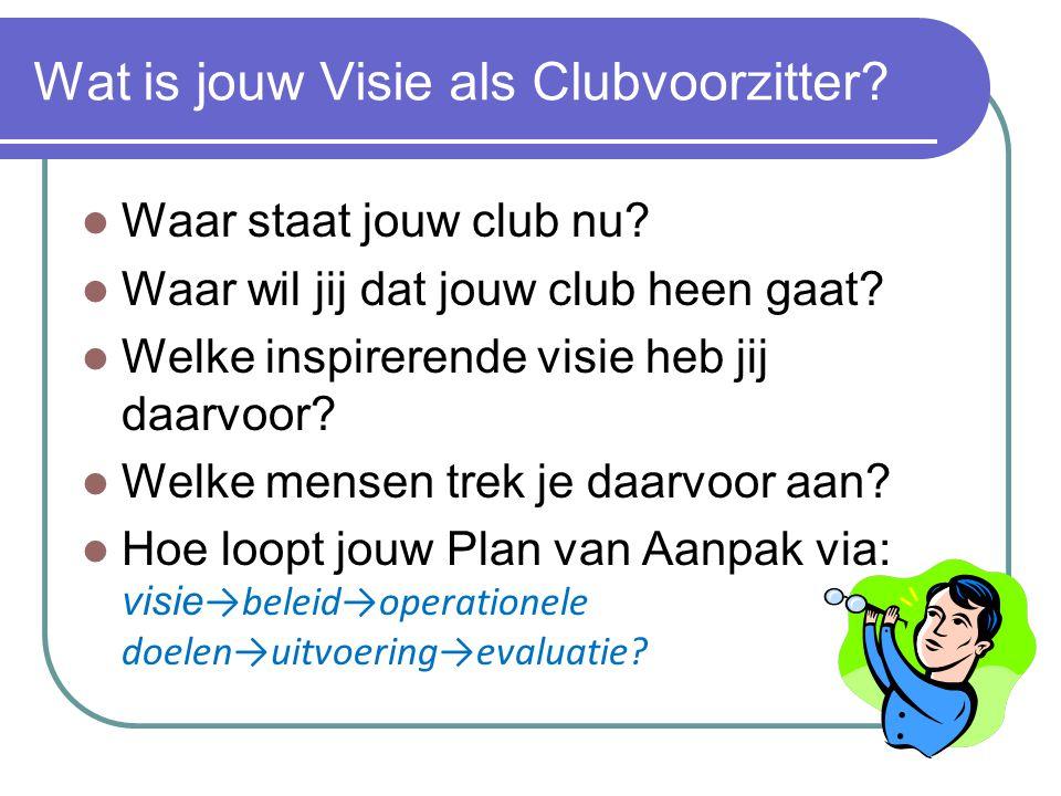 Wat is jouw Visie als Clubvoorzitter? Waar staat jouw club nu? Waar wil jij dat jouw club heen gaat? Welke inspirerende visie heb jij daarvoor? Welke