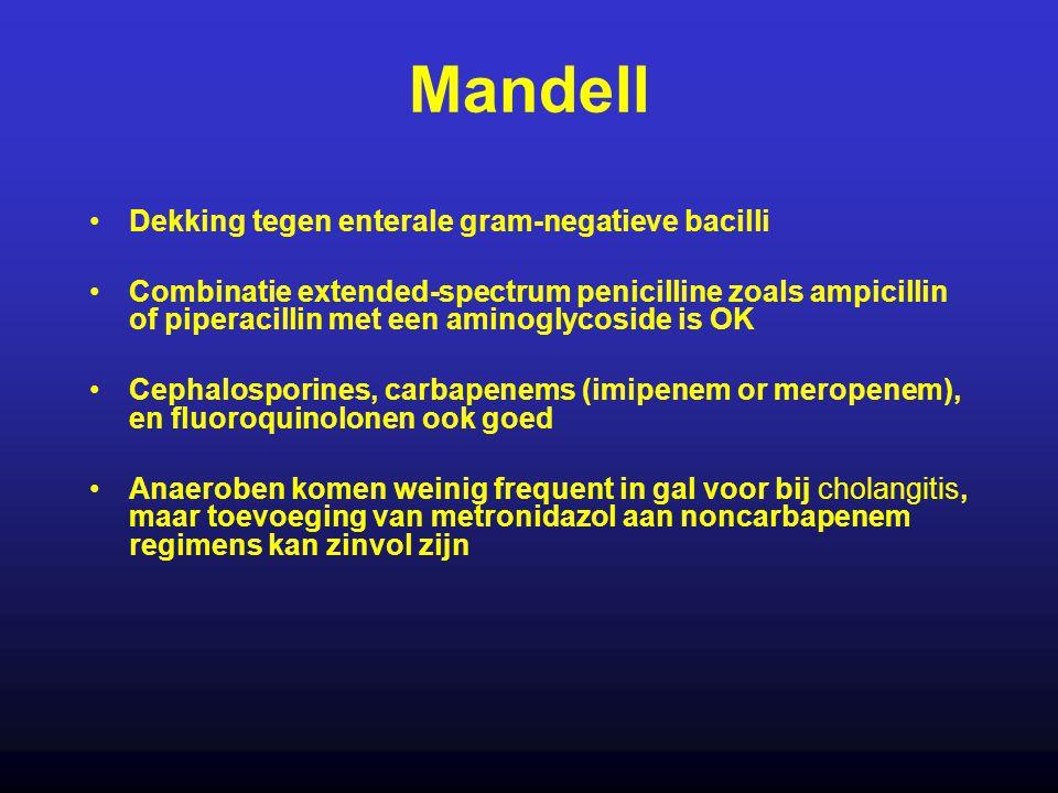 Mandell Dekking tegen enterale gram-negatieve bacilli Combinatie extended-spectrum penicilline zoals ampicillin of piperacillin met een aminoglycoside