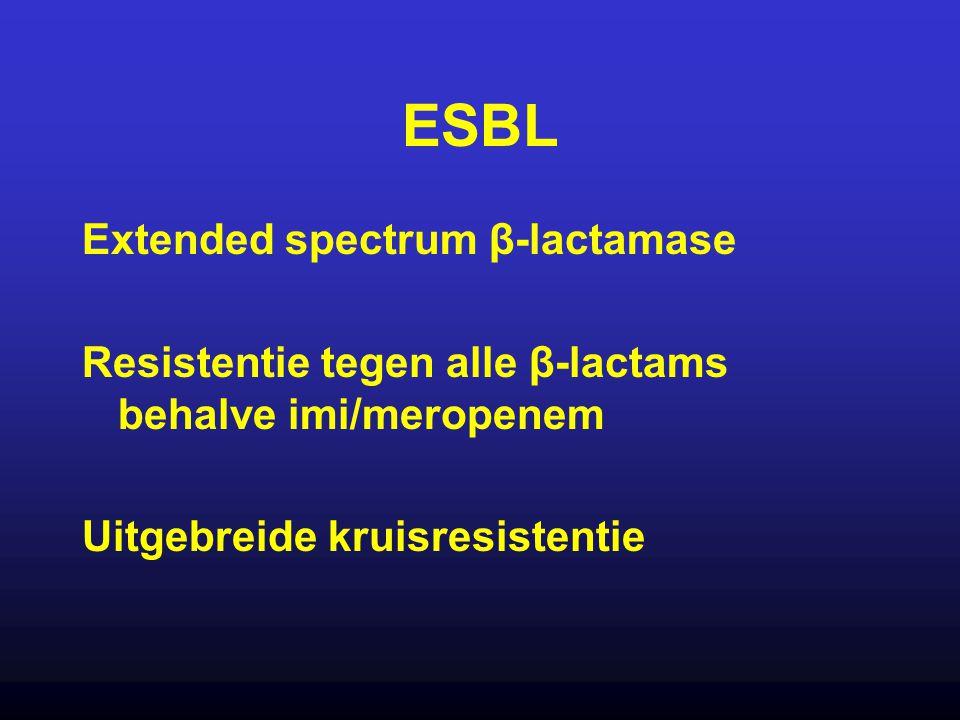 ESBL Extended spectrum β-lactamase Resistentie tegen alle β-lactams behalve imi/meropenem Uitgebreide kruisresistentie
