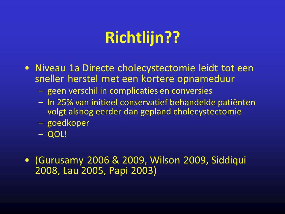 Richtlijn?? Niveau 1a Directe cholecystectomie leidt tot een sneller herstel met een kortere opnameduur –geen verschil in complicaties en conversies –