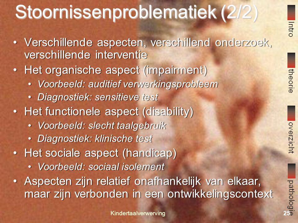 Kindertaalverwerving24 Stoornissenproblematiek (1/2) Diverse Opvattingen Modulaire opvatting Oorzaak = defecte module Vormen: Nativisme Cognitive neur