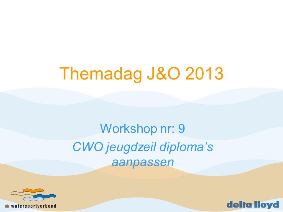 Workshop CWO jeugdzeil diploma aanpassen Inleiding (2 min) Presentatie workshopleider (5 min) Groepsdiscussie/gesprek (45 min) Samenvatting (8 min)