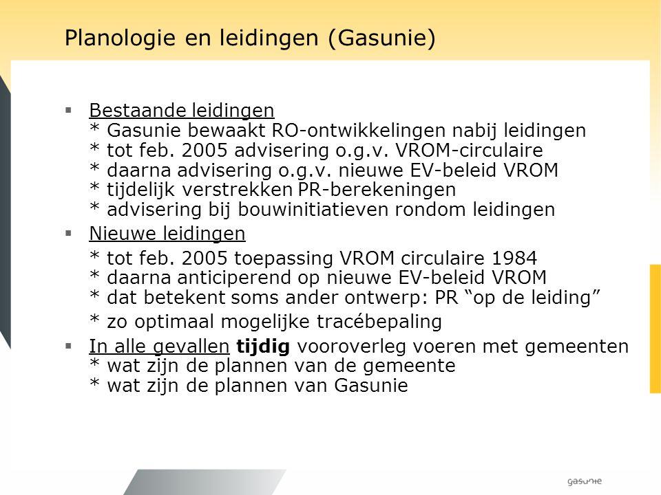 Planologie en leidingen (Gasunie)  Bestaande leidingen * Gasunie bewaakt RO-ontwikkelingen nabij leidingen * tot feb. 2005 advisering o.g.v. VROM-cir