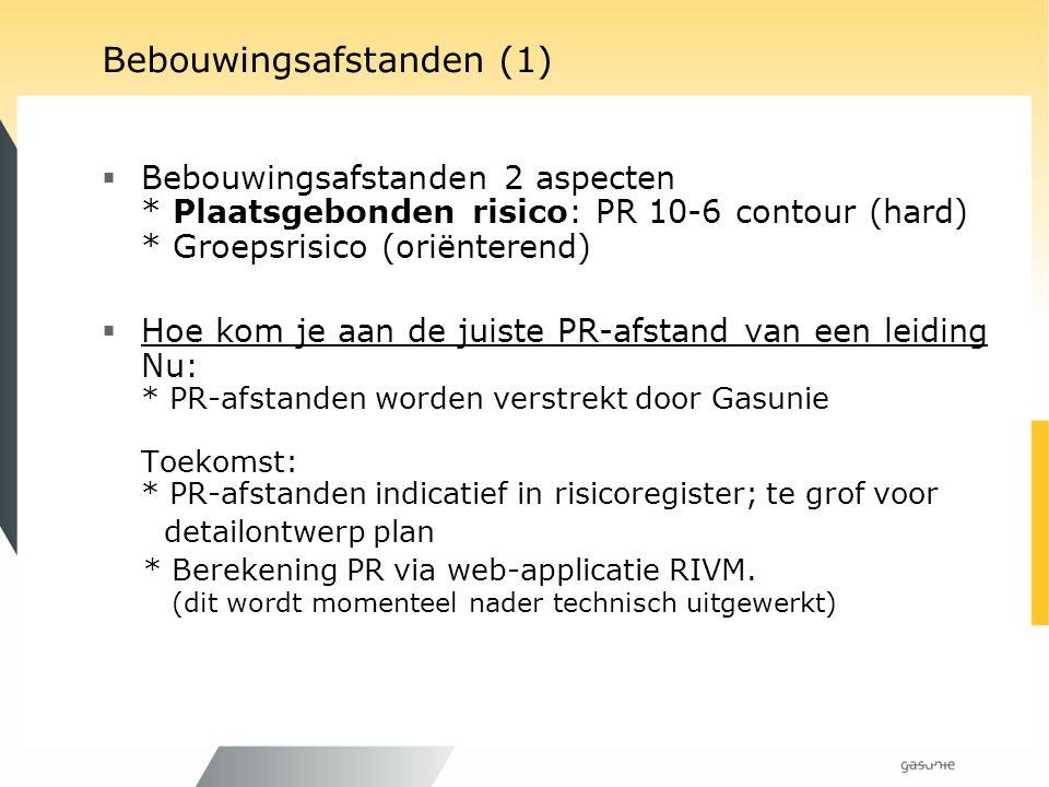 Bebouwingsafstanden (1)  Bebouwingsafstanden 2 aspecten * Plaatsgebonden risico: PR 10-6 contour (hard) * Groepsrisico (oriënterend)  Hoe kom je aan