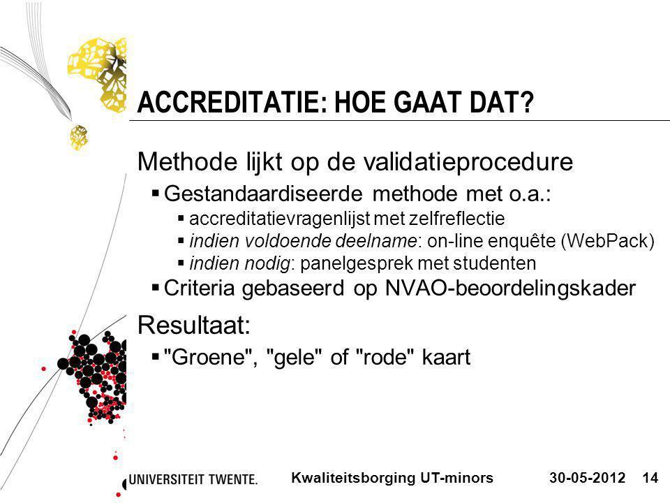30-05-2012Kwaliteitsborging UT-minors14 ACCREDITATIE: HOE GAAT DAT? Methode lijkt op de validatieprocedure  Gestandaardiseerde methode met o.a.:  ac
