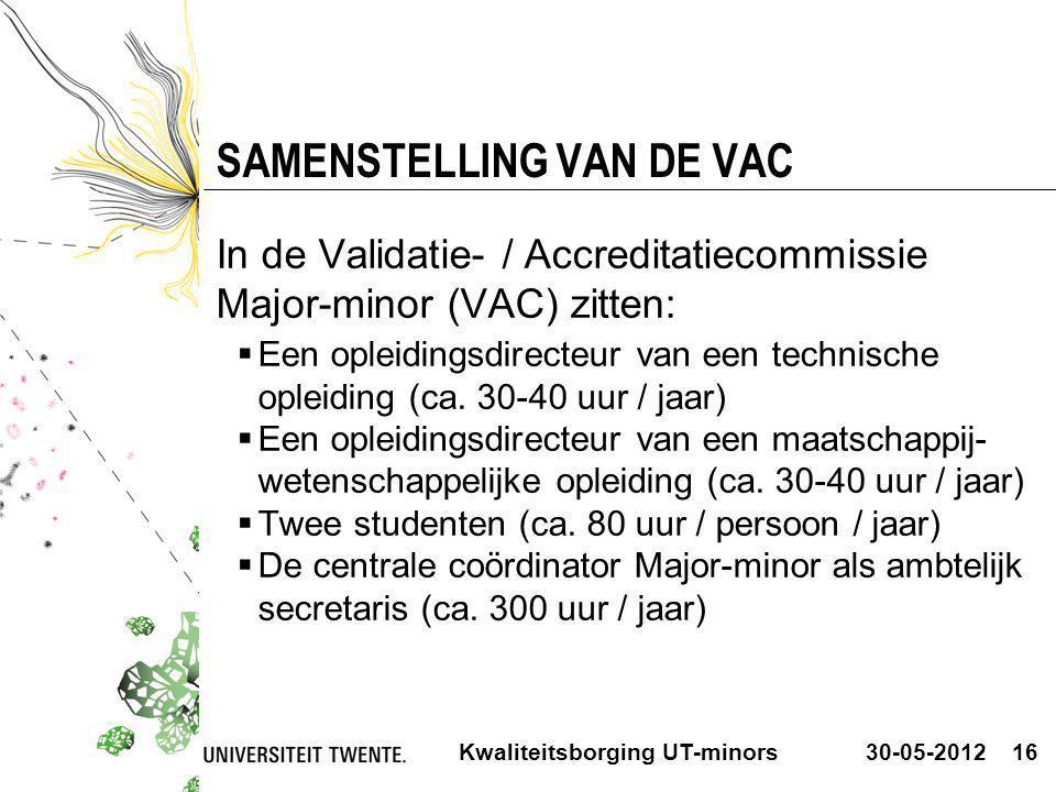 30-05-2012Kwaliteitsborging UT-minors16 SAMENSTELLING VAN DE VAC In de Validatie- / Accreditatiecommissie Major-minor (VAC) zitten:  Een opleidingsdi