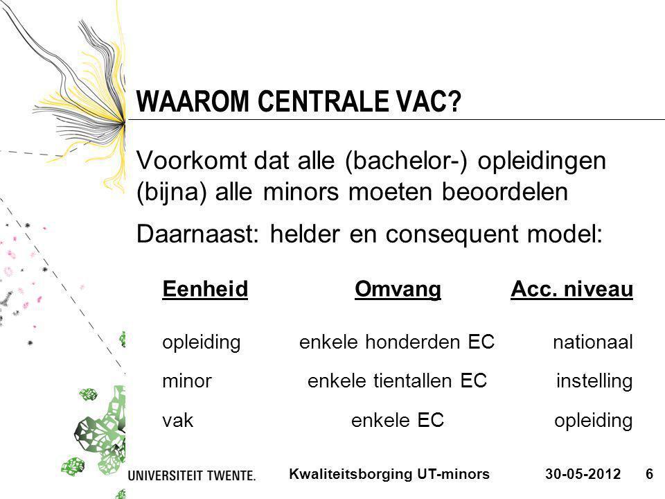 30-05-2012Kwaliteitsborging UT-minors6 WAAROM CENTRALE VAC? Voorkomt dat alle (bachelor-) opleidingen (bijna) alle minors moeten beoordelen Daarnaast: