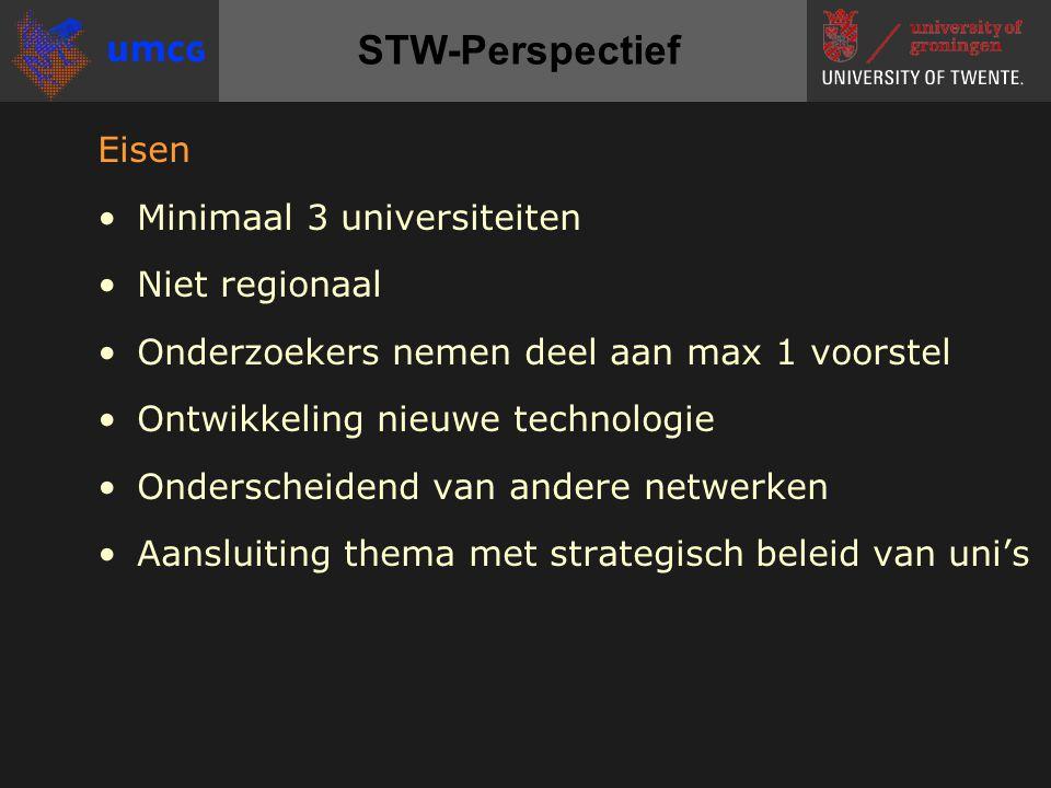 Eisen Minimaal 3 universiteiten Niet regionaal Onderzoekers nemen deel aan max 1 voorstel Ontwikkeling nieuwe technologie Onderscheidend van andere netwerken Aansluiting thema met strategisch beleid van uni's STW-Perspectief