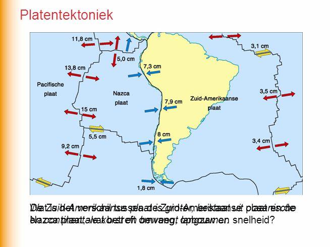 Wat is het verschil tussen de Zuid-Amerikaanse plaat en de Nazca plaat, wat betreft omvang, opbouw en snelheid.