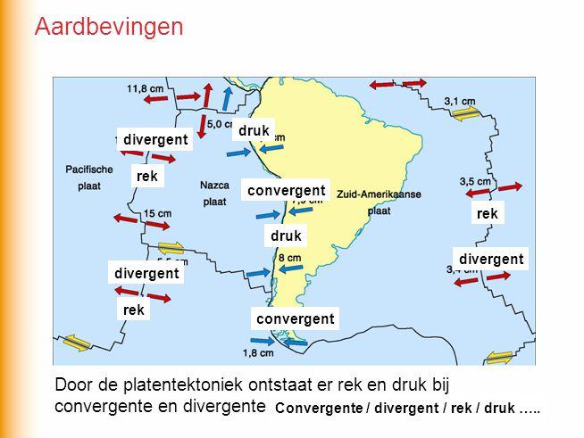 Door de platentektoniek ontstaat er rek en druk bij convergente en divergente plaatbewegingen rek druk convergent divergent Convergente / divergent / rek / druk …..