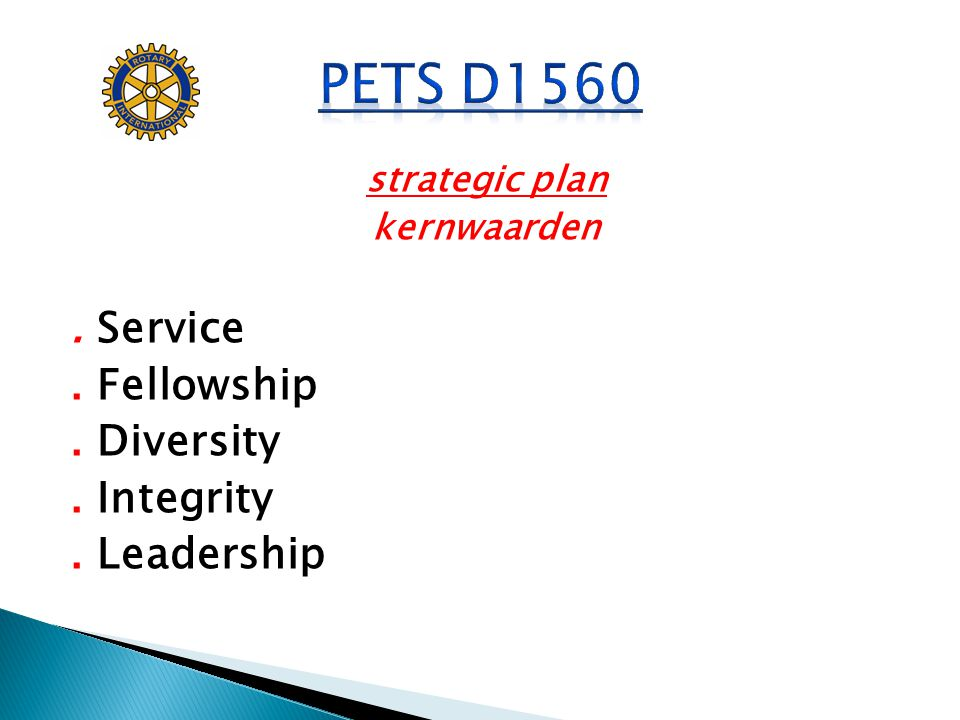 strategic plan kernwaarden. Service. Fellowship. Diversity. Integrity. Leadership