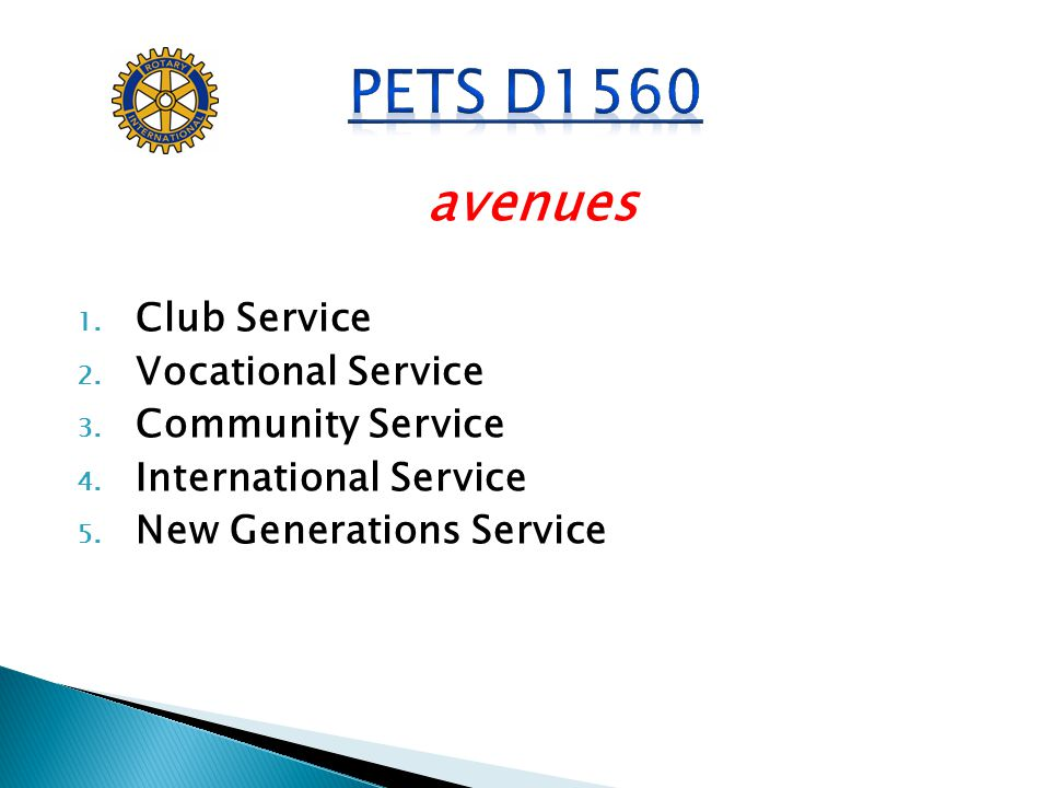 avenues 1. Club Service 2. Vocational Service 3. Community Service 4. International Service 5. New Generations Service