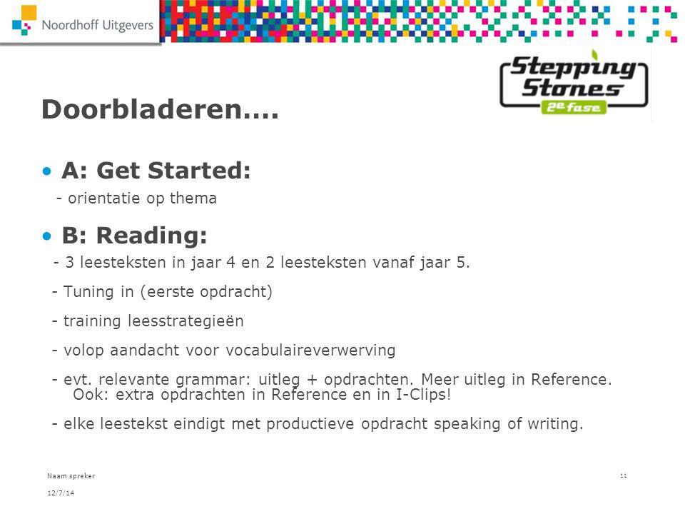 12/7/14 Naam spreker 11 Doorbladeren…. A: Get Started: - orientatie op thema B: Reading: - 3 leesteksten in jaar 4 en 2 leesteksten vanaf jaar 5. - Tu