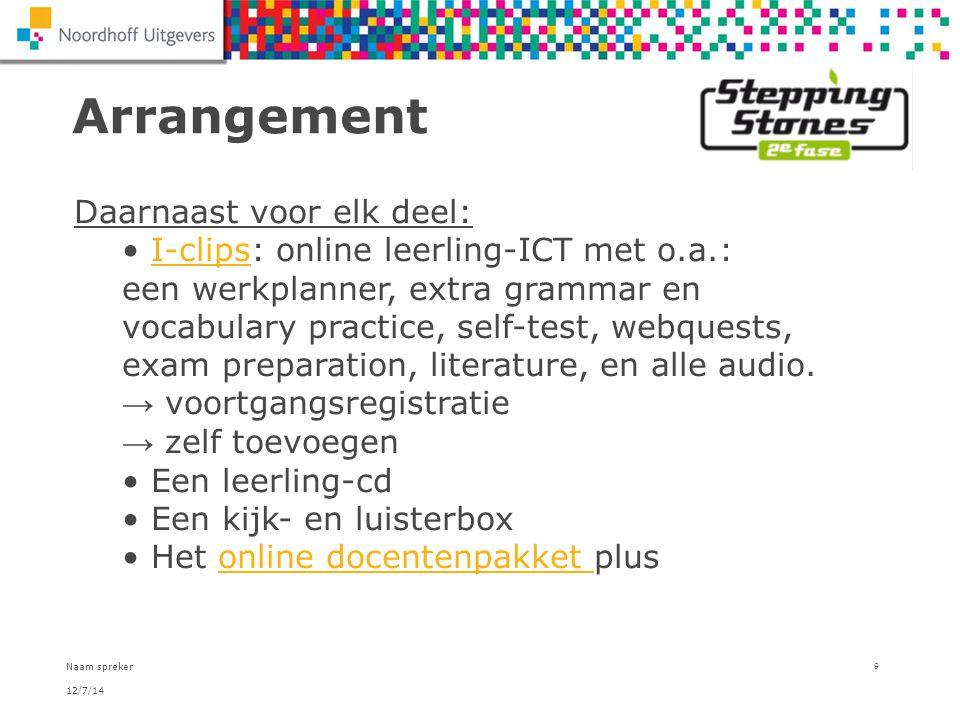 12/7/14 Naam spreker 9 Arrangement Daarnaast voor elk deel: I-clips: online leerling-ICT met o.a.: een werkplanner, extra grammar en vocabulary practi