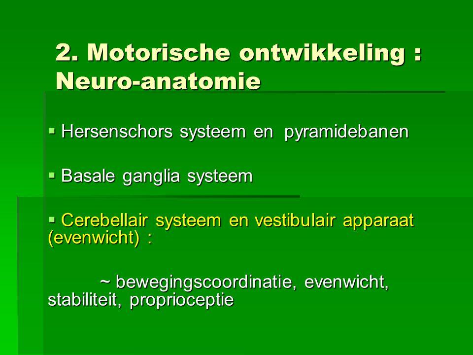 2. Motorische ontwikkeling : Neuro-anatomie  Hersenschors systeem en pyramidebanen  Basale ganglia systeem  Cerebellair systeem en vestibulair appa